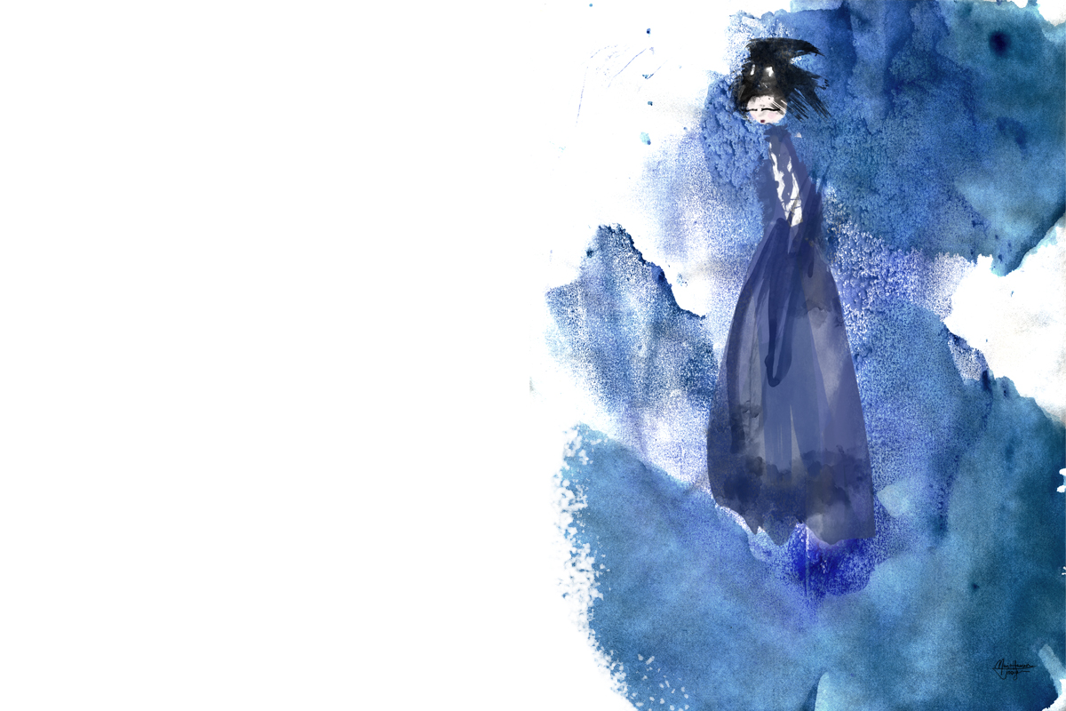 Blue Girl Wallpaper Right