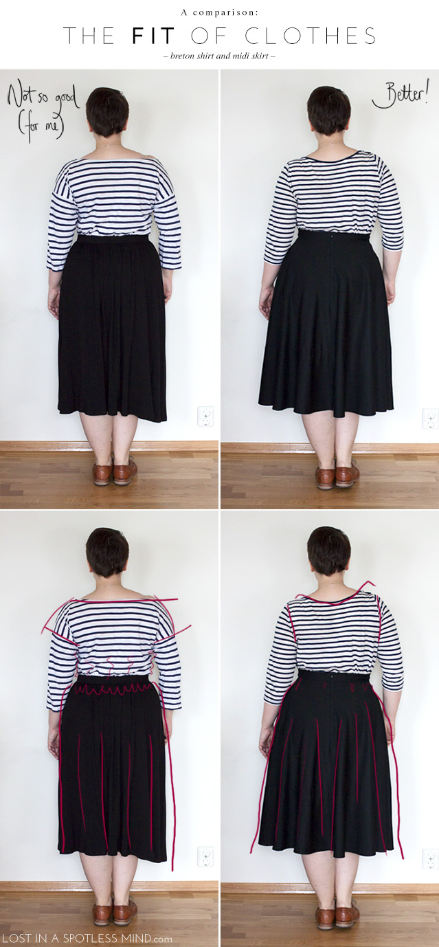 The fit of clothes: a comparison of two breton tops and midi skirts | from lostinaspotlessmind.com