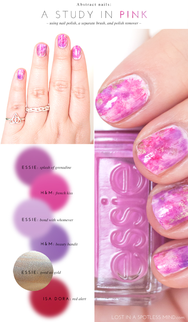 Abstract nails: a study in pink | from lostinaspotlessmind.com